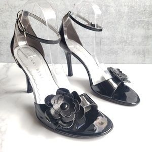Gianni Bini Flower Ankle Strap Patent Leather Heel